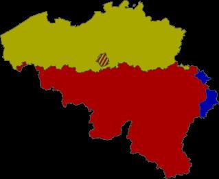 Kaart van België, verdeeld in gewesten