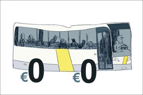 Bus 'de Lijn' gratis cartoon