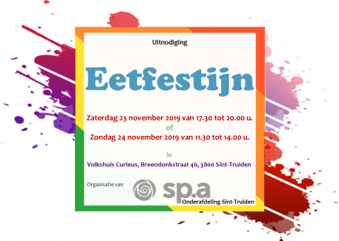 Eetfestijn - 23 en 24 november - sp.a onderafdeling Sint-Truiden