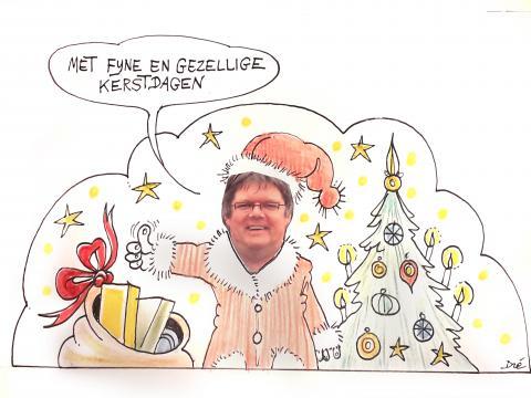 Cartoon ludwig aan kerstboom verkleed als kerstman