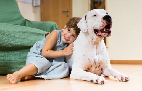 kind met hond thuis