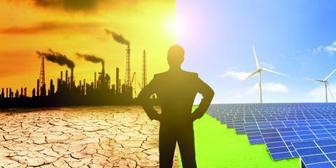 uitstoot fabriek en windmolens