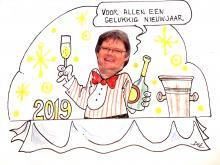Cartoon Ludwig proost op het nieuwe jaar